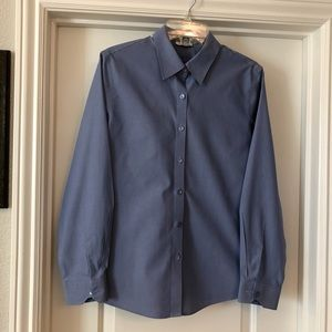 Foxcroft Blue Non-Iron Fitted Blouse